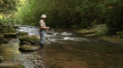 Trout Fishing on Small River Stock Footage
