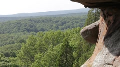 sandstone cliff over wooded skyline - stock footage