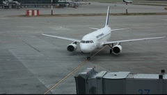 Air France Air Bus A319 Arrival at the gate Stock Footage