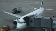 Stock Video Footage of Airfrance Airbus A319 at the gate b
