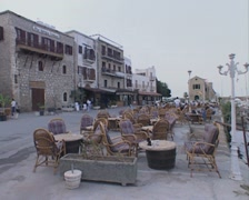 Kyrenia Harbour outdoor restaurant Stock Footage