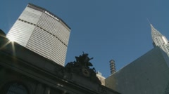 NYC slanted view buildings, siren background Stock Footage