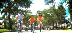 Healthy African American Family Cycling Together - stock footage