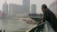 China - a man is looking out over a changed city Stock Footage