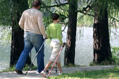 Couple nordic walking by the lake NTSC Stock Footage
