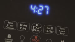 Pressing The Control Buttons Of A Convection Oven Close Up Stock Footage