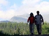 Stock Video Footage of Couple walking, hiking in the mountains NTSC