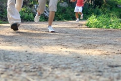 People jogging in the park, low angle, slow motion, dolly shot NTSC Stock Footage