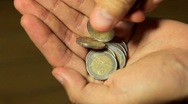 Stock Video Footage of EURO cents EUR, Money Beggar, Counting Coins, Savings, Foreign Currency