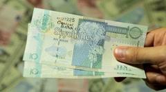 Payment, Loan or Borrow Money Cash, Salary, Tax, Income, Seychellois Rupee SCR Stock Footage