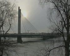 Jätkänkynttilä bridge / Jatkankynttila bridge in Rovaniemi, Lapland, Finland Stock Footage