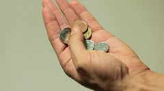 Czech Koruna CZK, Money Beggar, Counting Coins, Savings, Foreign Currency Stock Footage