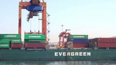 Gantry lifts the container Stock Footage