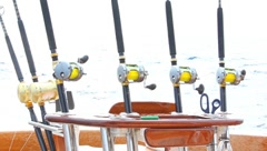 Fishing  reels on boat for deep sea fishing Stock Footage