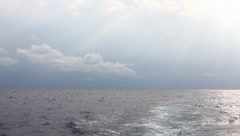 View of the ocean while deep sea fishing Stock Footage