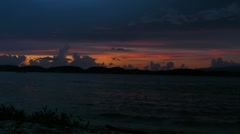 Puerto Rico-Sunset red colors shot from an Offshore Coral Cay - stock footage