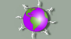MAN AND GLOBE Stock Footage