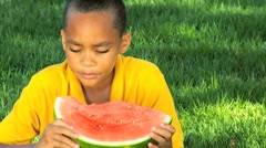 Young Ethnic Boy Healthy Eating Stock Footage