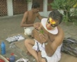 Goa / Cochin Kathakali Dancers applying makeup SD Footage