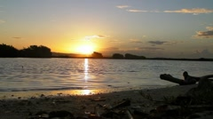 Sunrise on Deserted Island Lagoon with Audio-39 secs Stock Footage