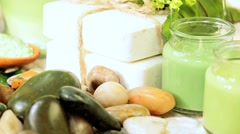 Close up of Spa Products for Tranquility & Relaxation Stock Footage