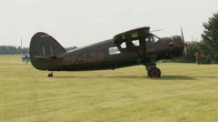 Aircraft, Noorduyn Norseman UC64A-ND idle on grass Stock Footage