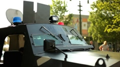 Police SWAT car on display Stock Footage