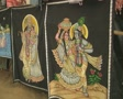 Goa / Cochin Fabric prints for sale at a market Footage