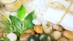 Group of Spa Products Promoting Wellbeing - stock footage