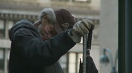 Close up homeless man in NYC Stock Footage