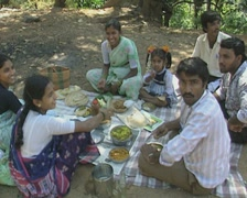 Goa / Cochin Indian family enjoying a picnic - stock footage