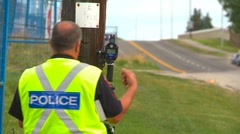 Stock Video Footage of crime and justice, Police manning laser radar, #3