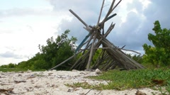 Stock Video Footage of Puerto Rico-Robinson Crusoe Survival Wood Hut on deserted island