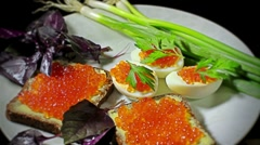 88 Sandwiches with red caviar Stock Footage