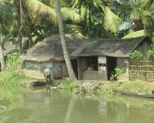 Goa / Cochin Huts on the riverbank Stock Footage