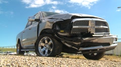 Auto accident, damaged silver pickup Stock Footage