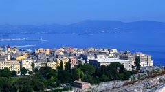 Time-lapse: aerial view of old city from Old Fortress, Kerkyra, Corfu, Greece. Stock Footage