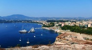 Time-lapse: aerial view of yacht marine from Old Fortress, Corfu, Greece Stock Footage