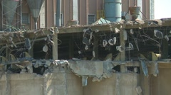 Concrete seed mill demolition cu, ca.1915 grain elevator, #3 Stock Footage