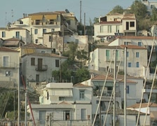 Close up of buildings from passing ferry Stock Footage