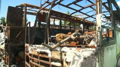 Burnt highway busses, #3 Stock Footage