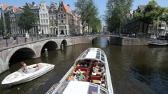 Giant Tourboat in Amsterdam Stock Footage