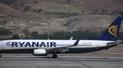 Ryanair plane on the runway Stock Footage