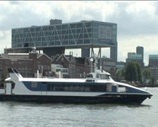 Water bus arrives in Rotterdam Stock Footage