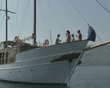 View of boat with people sitting at front Stock Footage