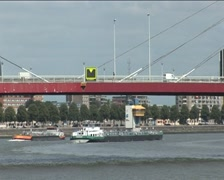 Shipping below bridge williams, Rotterdam Stock Footage