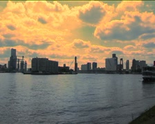 Rotterdam seen from the Maas Stock Footage