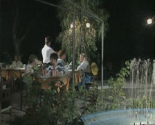 People sitting outdoors at a restaurant Stock Footage