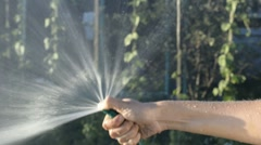 Hand watering with a hose flowers Stock Footage