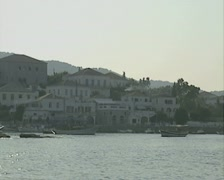 The coastline of Spetses as seen from the sea Stock Footage
